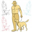 Royalty-Free Stock Vector Image: Man Training His Dog