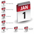 Holiday Calendar Date Icons — Stock Vector