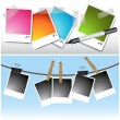 Stock Vector: Blank hanging Photos