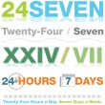 Двадцать четыре семь набор макетов — Cтоковый вектор