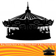 Carousel Ride Silhouette — Stock Vector