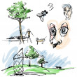 Outdoor Park Sketches — Stock Vector