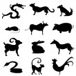 Chinese Astrology Animal Silhouettes — Stock Vector