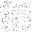 Stock Vector: Chinese Astrology Animal Line Drawings