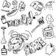 Stock Vector: Good Morning Drawing Set