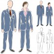 Business Suit Drawing Set — Stock Vector