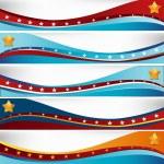USA Flag Wave Set — Stock Vector