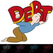 Man Carrying Debt — Stock Vector