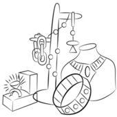 Collectible antiek sieraden tekenen — Stockvector