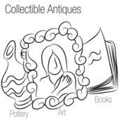 Collectible antiek tekening — Stockvector