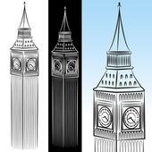 Torre do relógio big ben desenho — Vetor de Stock