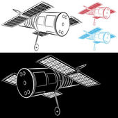 Space Satellite Drawing — Stock Vector
