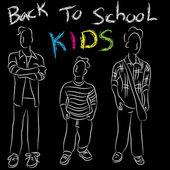 Back to School Kids — Stock Vector