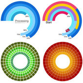Processing Wheel Chart Set — Stock Vector