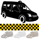 Taxi Shuttle Van Silhouette — Stock Vector