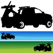 Tow Truck Silhouette Banner Set — Stock Vector