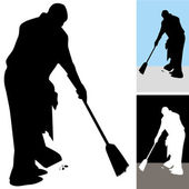Man Sweeping Floors — Stock Vector