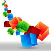 Falling 3D Cubes — Stock Vector