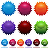 Phase Sun Star Sticker Icon Set — Stock Vector