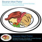 Bavarian Meat Platter — Stock Vector