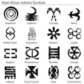 West African Adinkra Symbols — Stock Vector