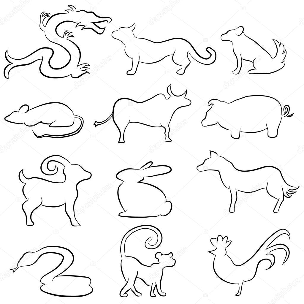 animal line drawings