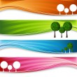 Orchard Tree Banner Set — Stock Vector