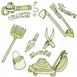 Gardening Tools Icon Set — Stock Vector