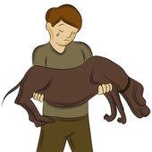 Man Carrying Injured Dog — Stock Vector