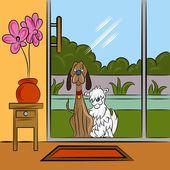Dogs Begging At Door — Stock Vector
