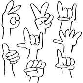 Hand Gestures Icon Set — Stock Vector