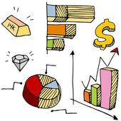 Financial Charts Icon Set — Stock Vector