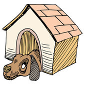 Dog Alone in Doghouse — Stock Vector
