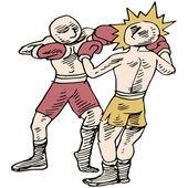 Boxeadores peleando — Vector de stock