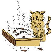 Dirty Cat Litter Box — Stock Vector