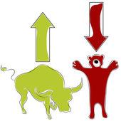 Bull Bear Stock Market — Stock Vector