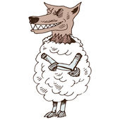 Wolf in Sheeps Clothing — Stock Vector