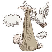 Stork Delivering Baby — Stock Vector