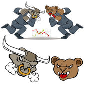 Bull Bear Battle — Vector de stock