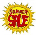 Summer Sale with Sun — Stock Vector