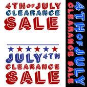 4 de julho liquidação — Vetor de Stock