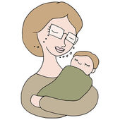 Woman Holding Baby — Stock Vector