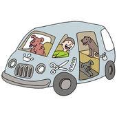 Mobile Dog Groomer — Stock Vector