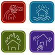 House Damage Icons — Stock Vector