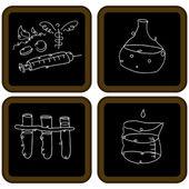 Schoolbord biologie pictogrammen — Stockvector
