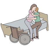 Lifting Disabled Woman — Stock Vector