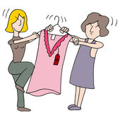 Women Fighting Over Dress — Vetorial Stock