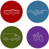 Transportation Travel Icons — Stock Vector