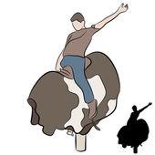 Człowiek jazda mechanicznego byka — Wektor stockowy