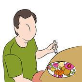 Man Eating Dinner — Stock Vector